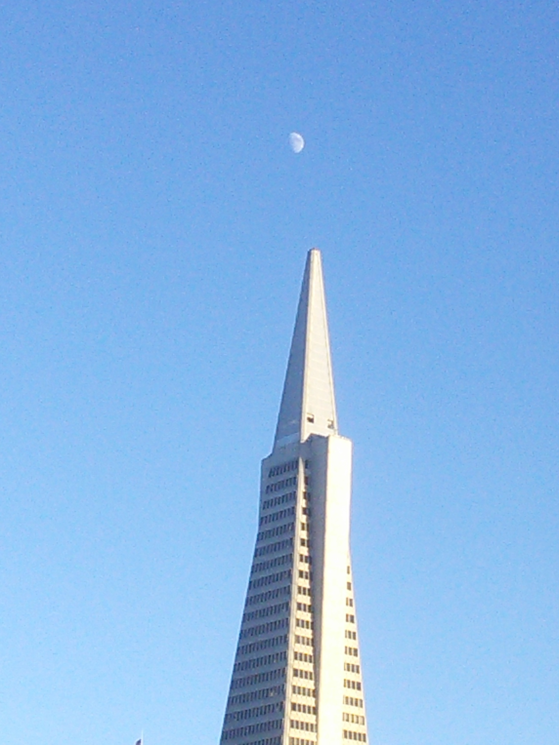 pyramid building with Moon